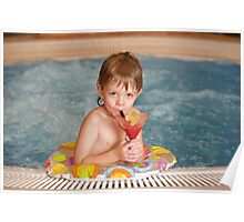 Boy with glass of coctail Poster