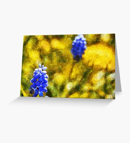 Grape Hyacinth amid Dandelions Greeting Card