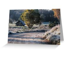 First frost and old barn Greeting Card