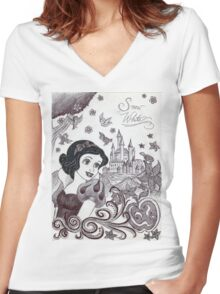 Monochrome Princess SW Women's Fitted V-Neck T-Shirt