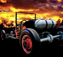Classic Hot Rod T in a Stormy Sunset by ChasSinklier