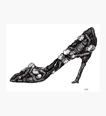 Shoe out of men surreal black and white pen ink drawing Photographic Print