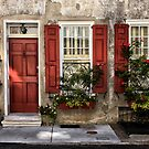 Red Shutters by Cyn  Valentine