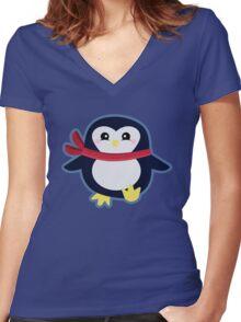Kawaii Penguin Women's Fitted V-Neck T-Shirt