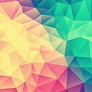 Abstract Polygon Multi Color Cubism Low Poly Triangle Design by badbugs