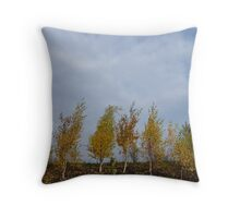 Autumn Yellow Trees, Blue Sky Throw Pillow