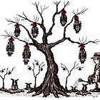 Strange tree surreal black and white pen ink drawing by Vitaliy Gonikman