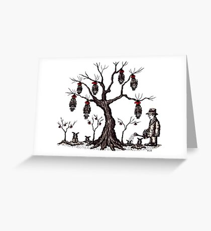 Strange tree surreal black and white pen ink drawing Greeting Card