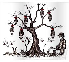 Strange tree surreal black and white pen ink drawing Poster