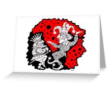 King and Joker surreal black and white and red pen ink drawing Greeting Card