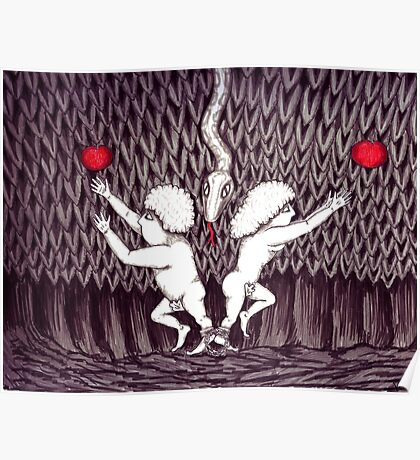 Adam and Eve surreal black and white pen ink drawing Poster