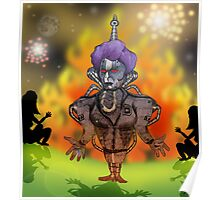 Margaret Thatcher Bonfire Night Robot Cartoon Poster