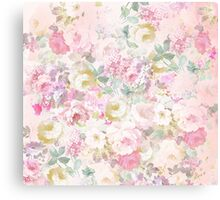 Chic retro pink white watercolor floral pattern Canvas Print