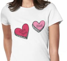 Can You Not Pink Red Hearts Womens Fitted T-Shirt