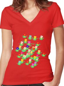 MINI MULTI FLOWERS TEE/BABY GROW Women's Fitted V-Neck T-Shirt