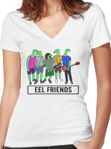 Eel Friends 3 Women's Fitted V-Neck T-Shirt