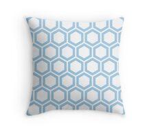 LightBlue honeycomb pattern on white background Throw Pillow