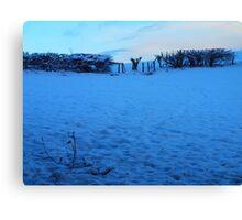 Snowy Fields at Dusk Canvas Print