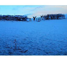 Snowy Fields at Dusk Photographic Print