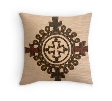 Ethiopian Cross Design - Fabric Throw Pillow
