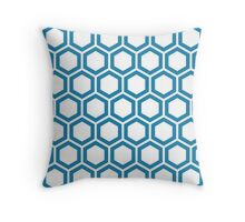 Blue honeycomb pattern on white background Throw Pillow