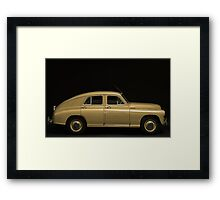 retro car side view on a black background Framed Print