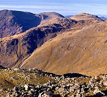 Scafell Pike, Esk Pike, and Bow Fell - The Lake District by Dave Lawrance