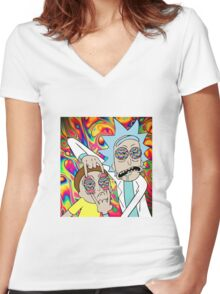 Rick and Morty Eyes Open Trip Women's Fitted V-Neck T-Shirt