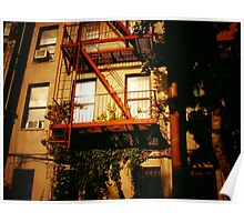 Red Fire Escape - East Village - New York City Poster