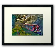 Canal boat in the early evening Framed Print