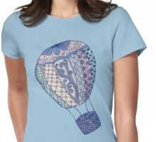 Hand Drawn Zentangle Hot Air Balloon! Womens Fitted T-Shirt