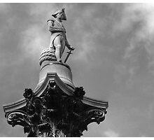 Nelson statue in Trafalgar Square, London, United Kingdom Photographic Print