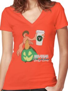 Pumpkaboo Spice Latte Women's Fitted V-Neck T-Shirt