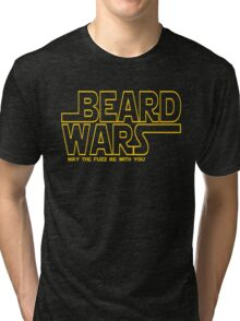 Beard Wars May The Fuzz Be With You Men's Funny Beard Sci-fi T-Shirt Tri-blend T-Shirt
