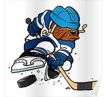 Ice hockey playing dog Poster