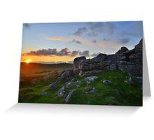 Dartmoor: Sunset at Black Tor Greeting Card