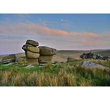 Dartmoor: The Moon Over the Moor Photographic Print