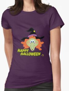 Evil Witch Happy Halloween Womens Fitted T-Shirt