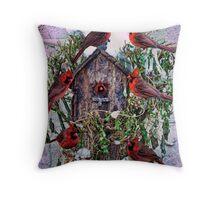 Winter Birdhouse Holiday Card Throw Pillow