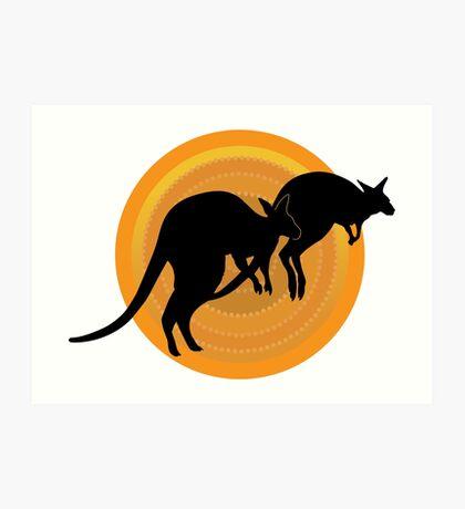 Kangaroos Running Art Print