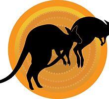 Kangaroos Running by Maria Bell