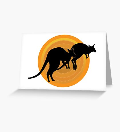 Kangaroos Running Greeting Card
