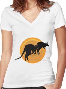 Kangaroos Running Women's Fitted V-Neck T-Shirt