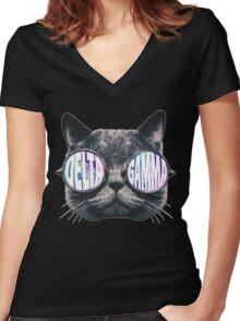 Delta Gamma Cat Galaxy Women's Fitted V-Neck T-Shirt