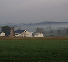 Lancaster county farm and fog by purplefoxphoto