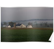 Lancaster county farm and fog Poster