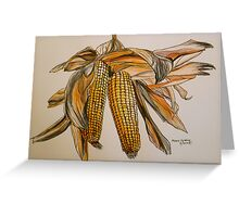 Drying sweetcorn, Tuscany. Pen and wash. Framed. 42x32cm Greeting Card