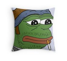 Pepe smoke frog  Throw Pillow