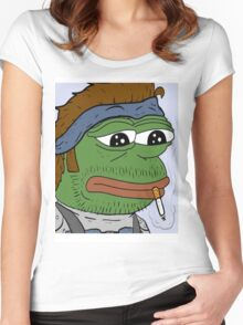 Pepe smoke frog  Women's Fitted Scoop T-Shirt