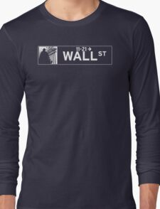 Wall St., New York Street Sign - Contrast Version Long Sleeve T-Shirt